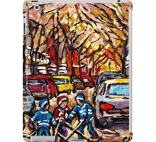 MONTREAL HOCKEY PAINTINGS ON THE WAY TO HOCKEY PRACTICE ORIGINAL PAINTING FOR SALE iPad Case/Skin