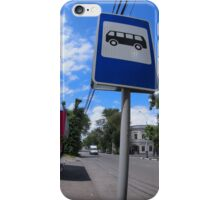 Road sign with a picture of a bus stop on a city street iPhone Case/Skin