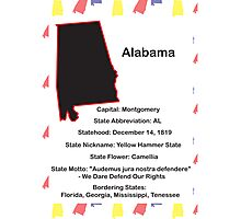 Alabama State Information Poster Photographic Print