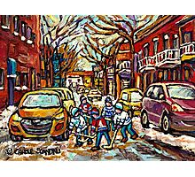 HOCKEY TOWN MONTREAL STREET HOCKEY PAINTING FOR SALE  Photographic Print