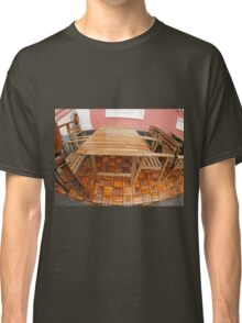 Wet wooden table and chairs after the rain Classic T-Shirt