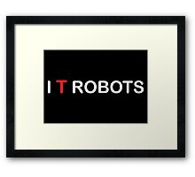 The IT Crowd – I T Robots (White) Framed Print