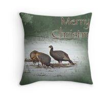 Christmas Card - Wild Turkeys Throw Pillow