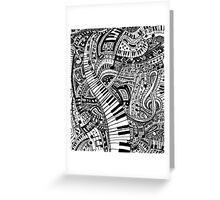 Classical music doodle with piano keyboard Greeting Card