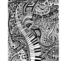 Classical music doodle with piano keyboard Photographic Print
