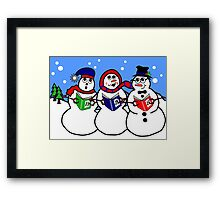 Cartoon Snowman Singing Group Framed Print