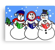 Cartoon Snowman Singing Group Metal Print