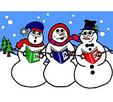 Cartoon Snowman Singing Group Photographic Print