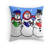 Cartoon Snowman Singing Group Throw Pillow