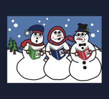 Cartoon Snowman Singing Group Kids Tee