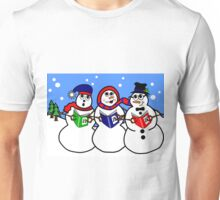 Cartoon Snowman Singing Group Unisex T-Shirt