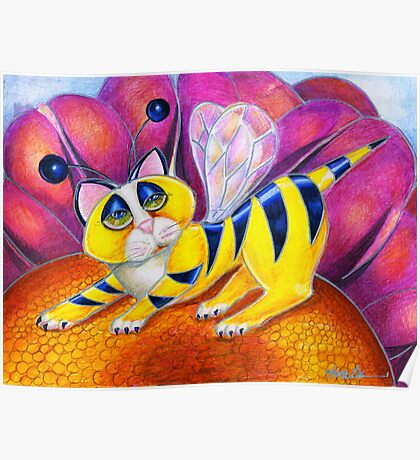 Bee I Kitty, surrealism  cat by Alma Lee Poster