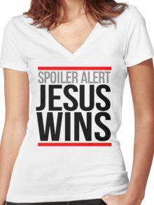 Jesus Wins Women's Fitted V-Neck T-Shirt