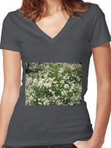 Large field overgrown with small white daisy flower Women's Fitted V-Neck T-Shirt