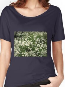 Large field overgrown with small white daisy flower Women's Relaxed Fit T-Shirt