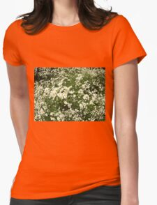 Large field overgrown with small white daisy flower Womens Fitted T-Shirt