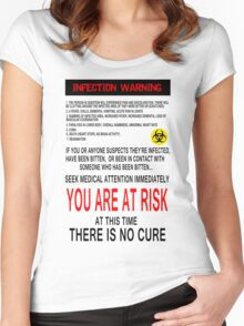 Zombie Infection Warning Women's Fitted Scoop T-Shirt