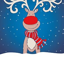 Fun Rudolph in the snow christmas card by Sarah Trett