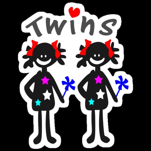 Twin girls vector art by cheeckymonkey