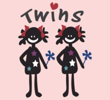 Twin girls vector art One Piece - Long Sleeve