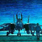 moonlight mission-an f14 tomcat fighter pilot walks to his plane by gforall