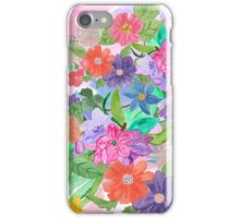 Girly pink teal watercolor flowers pattern  iPhone Case/Skin
