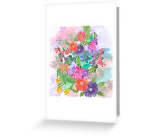Girly pink teal watercolor flowers pattern  Greeting Card
