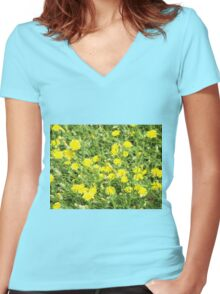 Thickets of small yellow flowers Picris Rigida at forest lawn Women's Fitted V-Neck T-Shirt