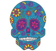 Blue Sugar Skull Photographic Print