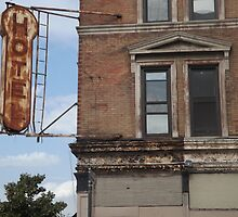 Abandoned Hotel and Sign, West Street, New York City by lenspiro