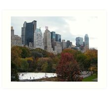 NY November Wollman Rink, Central Park, Fall Foliage Art Print