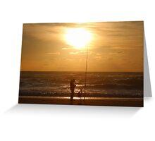 Fishing at Sunset II Greeting Card