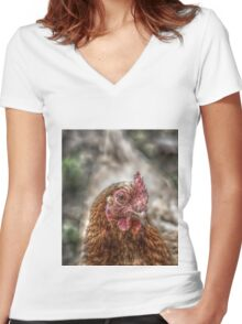 Chicken HDR style Women's Fitted V-Neck T-Shirt