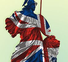 Statue of Lady Britannica - United Kingdom Flag by hqpopart