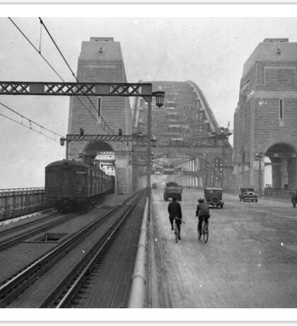First cars and trains across Sydney Harbour Bridge, March 1932 Sticker