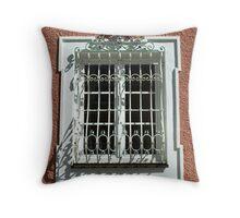 Wrought iron window. Throw Pillow