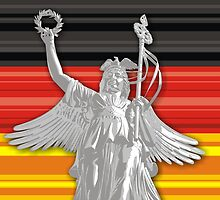 Statue of Lady Victoria - German flag - Goldelse by hqpopart