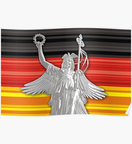 Statue of Lady Victoria - German flag - Goldelse Poster