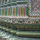 Tiled wall at Wat Phra Kaew, Bangkok, Thailand by cupofmanatee