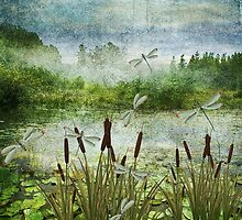 CATTAILS AND DRAGONFLIES by Tammera