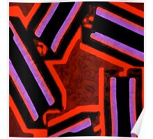 Red Black Purple Abstract Star Poster