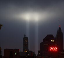 September 11th Memorial Lights from the Brooklyn Bridge by mrjcruz2896
