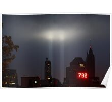 September 11th Memorial Lights from the Brooklyn Bridge Poster