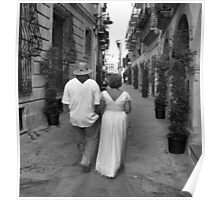 Bride and Groom Taking a Stroll! Poster