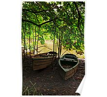 Fishing cots, River Nore, Inistioge, County Kilkenny, Ireland Poster