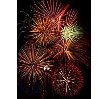 Multiple Fireworks Blasts Paint the Night Sky Photographic Print
