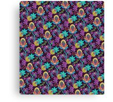 Colorful Abstract Retro Flowers Beads Look Design Canvas Print