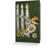Goldfinch & the Fence in Arcylic Greeting Card