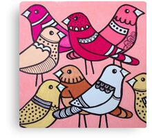 Colourful birds in pink Canvas Print