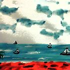 A day to go sailing, watercolor by Anna  Lewis